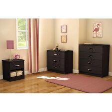 Bedroom Furniture Set Deep Drawers Dresser Nightstand College Dorm Dark 3 Pieces