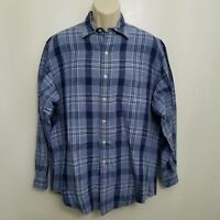 Polo Ralph Lauren Mens Marlowe Shirt Medium Blue Plaid Button Up Linen Blend