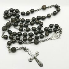 ANTIQUE VICTORIAN CUT STEEL OLD ROSARY CROSS CRUCIFIX CARVED WOOD BEADS NECKLACE