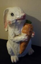 "Wooden 8.5"" Easter Carved White Primitive Bunny With Carrot Outdoor Decoration"