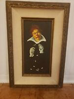 Vintage Oil Painting of Clown Love Me Not Yutti Rock Framed 8 x16 Orig price 275