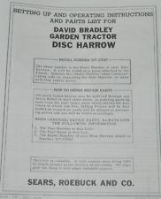 Disk Harrow Sears Roebuck David Bradley Garden Tractor Owner's Manual 917.57547