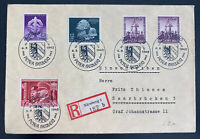 1942 Nuremberg Germany Registered first day Cover To Saar Semi Postal Stamps