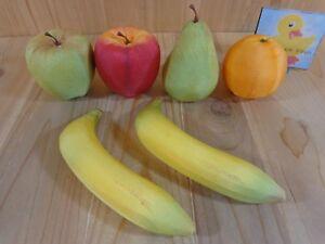 "DECORATIVE FAKE FRUIT Set of 6 Bananas 3.5"" Apples Orange Pear Fabric Over Foam"