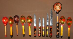 Vintage Soviet Russian hand painted wood set 5 knives and 8 spoons