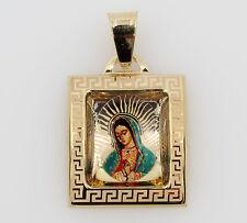 14K Yellow Gold Virgen De Guadalupe Color Picture Square Charm Pendant