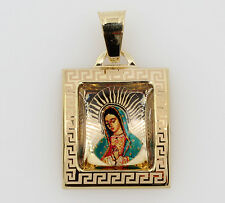 14K Yellow Gold Small Virgen De Guadalupe Color Picture Square Charm Pendant
