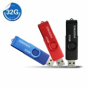 Lot 3 Cle USB 32 GO USB 2.0 Flash Drive Stockage Rotation Disque Memoire Stick