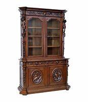 Large Antique French Renaissance Oak Bookcase w/ Figures