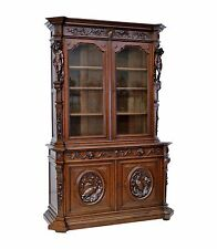 1110057 : Large Antique French Renaissance Oak Bookcase w/ Figures