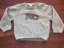 Gymboree Boy Green Tractor Farm Pullover Cotton Sweater 18-24 month EUC