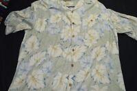 Havana Cafe Large Silk Light Sage Green Blue Cream Tropical Men's Shirt