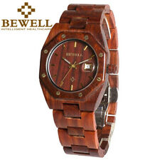 Bewell Men's Natural Maple Wood Watch Calender Display for Men Relogio Masculine