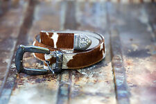 Vintage Cache Leather and Calf Hair Belt Ornate Silver Metal Buckle