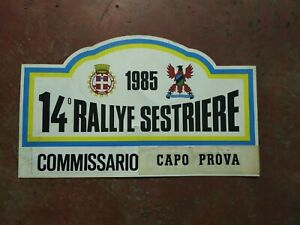 TARGA/PLATE ORIGINALE 14° RALLYE SESTRIERE COMMISSARIO CAPO PROVA - Ediz.1985