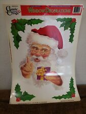 Vintage Christmas Window Decorations : Non-Adhesive  Lot Of 8 Classic Clings