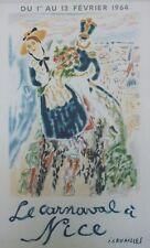 """""""LE CARNAVAL à NICE 1964"""" Affiche originale entoilée Litho J. CAVAILLES 44x67cm"""