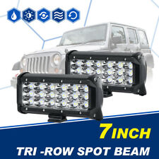 "2X 7"" 180W Tri-Row CREE LED Work Light Bar Spot Offroad 4WD Truck Driving SUV 6"""