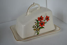 Vintage Porcelain Covered Butter Dish Rose Flower Gold Trim  Ponisetta Christmas