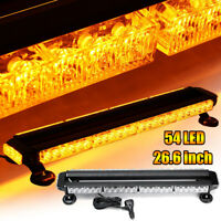 "26.6"" 54W Car Warning Strobe Flashing Light Bar 54 LED Amber Lamp Universal 12V"