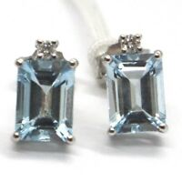 WHITE GOLD EARRINGS 750 18K, AQUAMARINE, CUT EMERALD, DIAMONDS