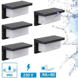 Wall Lamp LED IP65 12W 230V Outdoor Garden Patio Black 5er Set