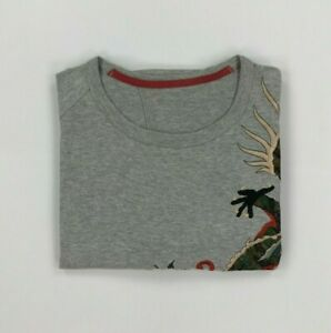 Men's Light Grey Maharishi T-Shirt Medium M Dragon Embroidery Organic Rare B