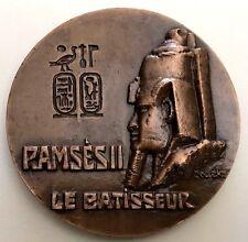FRENCH BRONZE ART MEDAL / EGYPT KING RAMESES II ABU SIMBEL TOMB / 72 mm / N142
