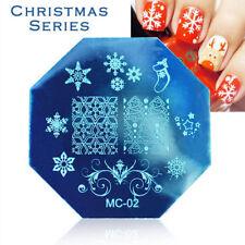 PIASTRE di stampaggio Nail Art Immagine Targa decorazione Natale fiocchi di neve (MC02)