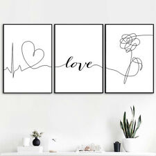 Letter Art Black White Poster Abstract Flower Minimalist Canvas Print Wall Decor