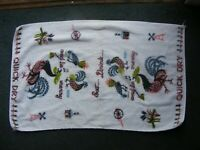 "1970s Vintage Farmhouse Kitchen Chicken Rooster ""Quick Dry"" Dish Drying Towel"