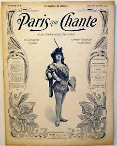 7 N° de la revue PARIS QUI CHANTE - 1903 / 1919 -partitions musicales de films