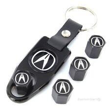 Acura Black Logo Black Tire Valve Caps + Wrench Key Chain