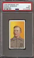 1909-11 T206 HOF Hughie Jennings Portrait Piedmont 350 PSA 3 (MC) VG BACK ERROR