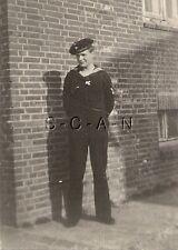 WWII German Navy RP- Kriegsmarine- Sailor- Uniform- Hat- Stands by Brick Wall