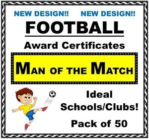 Bumper Pack 50 FOOTBALL Award Certificates 'Man of the Match' - NEW DESIGN!