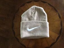 Nike Unisex Knitted Cuffed Beanie / Beige Hat with raised White logo