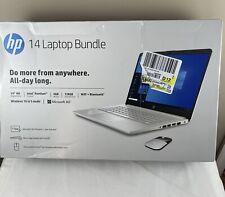 "HP 14"" HD Laptop Intel N5030 128GB 4GB RAM Win 10 - Silver + MOUSE -New Sealed"