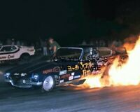JUNGLE JIM LIBERMAN CHEV VEGA FUNNY CAR DRAG RACING COOL FIRE BURNOUT 8X10 PHOTO