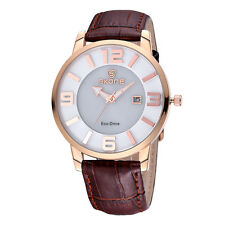 SKONE Women Eco-Drive Solar Power Date Leather Strap Analog Quartz Wristwatches