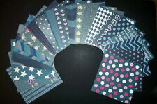 "Colourful *DENIM* Papers x 20- 15cm x 15cm (6 x 6"") Scrapbooking/Cardmaking"