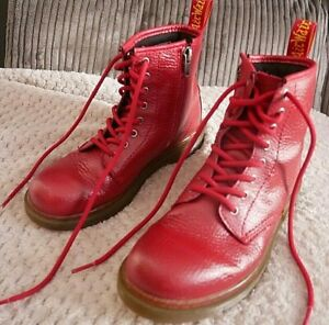 DR MARTENS DELANEY CHERRY RED YOUTH / WOMENS ZIP UP BOOTS, UK 2.5 EU35 DM'S GOTH