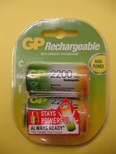 PILAS - BATERIAS RECARGABLES  C / R14 NiMH 2200 mAh GP (paquete de dos unidades)