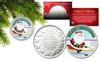 MERRY CHRISTMAS Hockey Santa Royal Canadian Mint Medallion Coin in XMAS Ornament