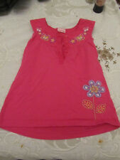 Girls Dark Pink Floral Embroidered Sleeveless Top - 5 - 6 years