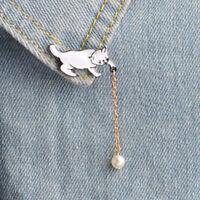 Cute Enamel Pearl Cat Brooch Pins Shirt Collar Pin Breastpin Women Jewelry XR