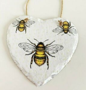 Hand decorated, Hanging heart shaped slate, Bee Pattern, home decor, mothers day