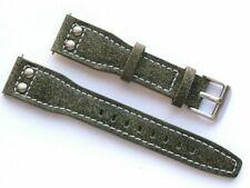 20mm Grey/Blue Military Pilot Aviator Style Retro Nostalgia Leather Watch Strap