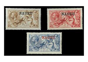 Nauru 1916 Opt On Seahorses 2/6,5/-,10/- All De La Rue Printing 3 Stamps MLH 9-8