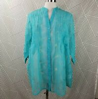 Plus size 18 1X Button Front Sheer Tunic Leaf Hawaiian Print Pintuck cover up